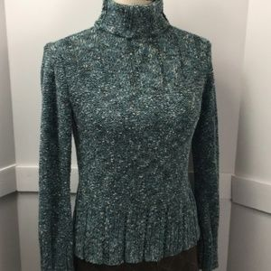 J.Jill teal marled turtleneck sweater